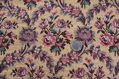 """French Vintage c1920-30s Woven Jacquard Floral Frame Fabric~Pinks~Mauve~13""""X13"""""""