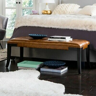 Entrance Bench Mid Century Modern Farm End Of Bed Dining Mudroom Tufted 47 In 239 95 Picclick