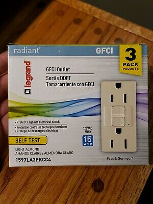 Legrand Ivory 15-Amp Decorator Outlet GFCI Residential//Commercial New 3-Pack