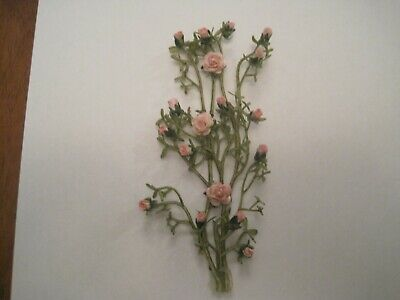 """Climbing Orange Tipped Ivory Rose Covered Double Vine 1:12 miniature 5/"""" long"""