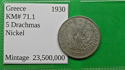 World Foreign Old Greek 1930 Coin 5 Drachma KM# 71.1 Vintage Greece !!