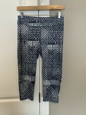 Under Armour UA Youth Girls Crop Gray White Heat Gear Fitted Leggings Large L