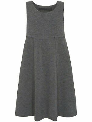 Girls Jersey School Pinafore Dress Soft & Stretchy Uniform Grey Ages 2-12