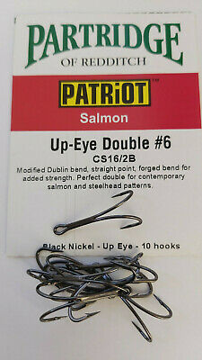 Partridge Low Water Salmon Double Hooks Code Q Packs of 10 All Sizes 6 to 14