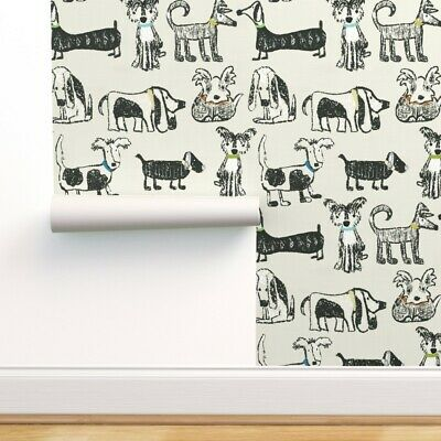Removable Water-Activated Wallpaper Dogs Animal Kids Pets Large Scale Nursery