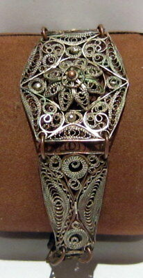 ANTIQUE 1800s.COPPER  BRACELET in 5 PARTS,AMAZING FILIGREE W/ SILVERED # 37