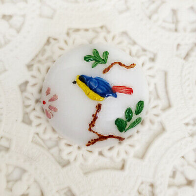 Findings Sewing Crafts Embellisments Vintage Czech Painted Glass Mexicans Novelty Shank Buttons  4  Pistol Packing Ranchero  Trim