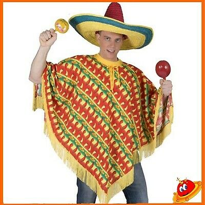 Adulto Poncho Messicano Wild West Costume Uomo Western Stag PARTY NUOVO