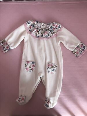 Baby Girl Pink Velour Frilly Crochet Trim Embroidery Romper All in One Sleepsuit