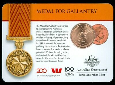 2017 Australia 25c Coin - Legends of the Anzacs - MEDAL FOR GALLANTRY BU