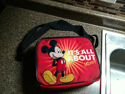 Kids Children Insulated Lunch Bag Box Disney Mickey Mouse Its All About Red