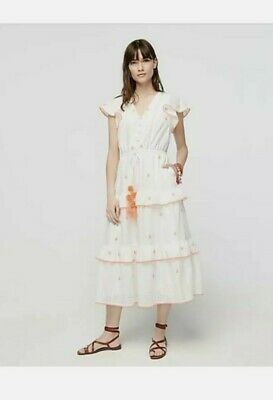 🌺NWT J.Crew Embroidered Midi in White Cotton Voile Tiered Dress Sz 0P $158