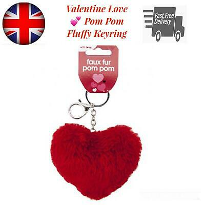Valentine Day His her Gifts Ideas Heart Red Faux Fur Pom Pom Key Ring  Present