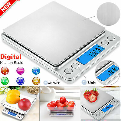0.01g - 3000g Digital Electronic Pocket Food Weight Scale LCD Kitchen Weighing