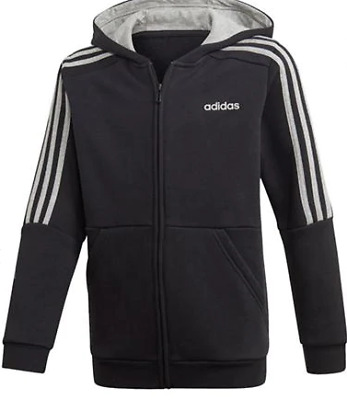 Adidas Boys 3-Stripes Zip Tracksuit Top Black Size UK 11-12 Years *REF156