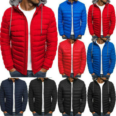 Men Quilted Padded Puffer Jacket Casual Zip Up Winter Warm Coat Bomber Outwear X