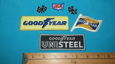 6 Goodyear Good-Year Unisteel Tire Racing Rally Patch Crest Checkered Flags Usa