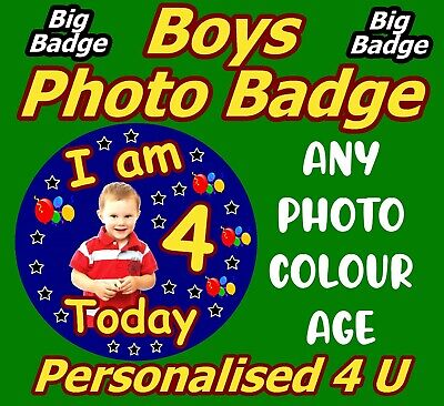 MALE BIRTHDAY BADGE PERSONALISED 4 U NEW ANY COLOURS ANY AGE NAME PHOTO