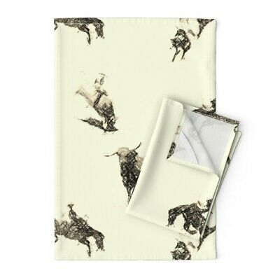This Ain/'t My First Rodeo Chambray Tea Towel Western Cowboy Horse Linen Ritz