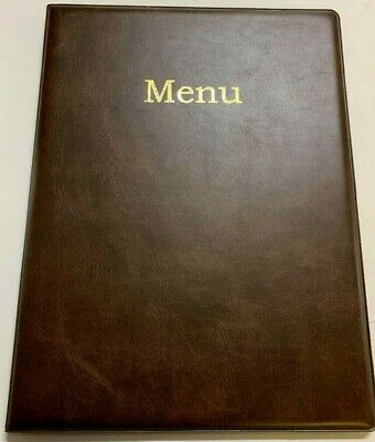 New Qty 32 -A4 Menu Holder/Cover/Folder In A Classy Brown Leather Look Pvc -