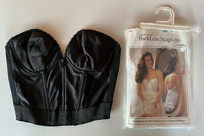 STRAPLESS BACKLESS LONGLINE LACE BRA BY SMOOTHIE 480 VINTAGE USA