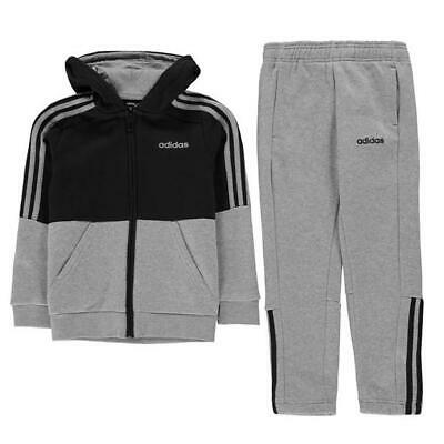 Adidas Boys Essentials 3-Stripes Zip Tracksuit Grey/Navy Size UK 9-10 Years