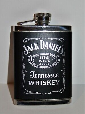 JACK DANIEL Tennessee WHISKEY FLASK Stainless Steel LEATHERETTE Cover distillery