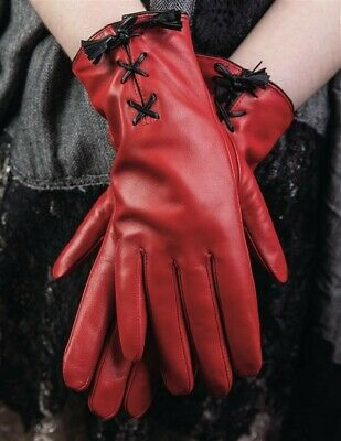 Victorian Trading Co Red Leather Corset Gloves MD Free Ship NIB