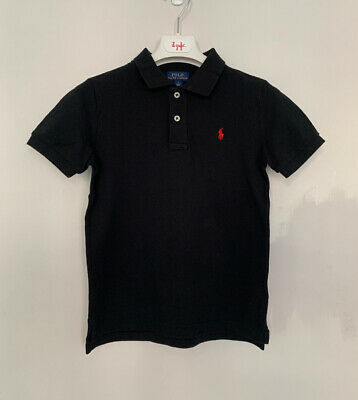 Boys Polo Ralph Lauren Age 6 Years Polo Shirt Black Cotton Short Sleeve