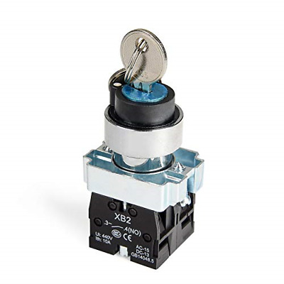 APIELE 22MM 3 Position Key Switch 2NO XB2-20Y/31 3 Position Maintained