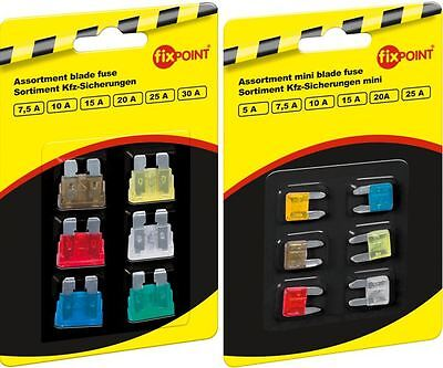 Assorted Car Fuses 6 Piece 5 - 30A Flachsicherungen And Mini Their Selection