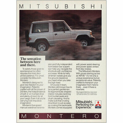 1987 Mitsubishi Montero: Sensation Between Here and There Vintage Print Ad