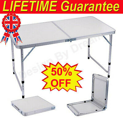 New 4Ft Folding Camping Table Aluminium Picnic Portable Adjustable Party Outdoor