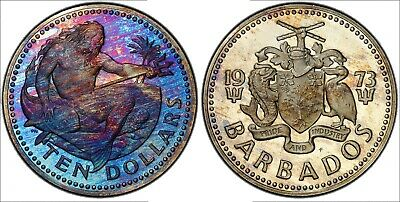 1973-F Barbados 10 Dollars Silver Proof Vibrant Neon Monster Toned Color Bu (Mr)