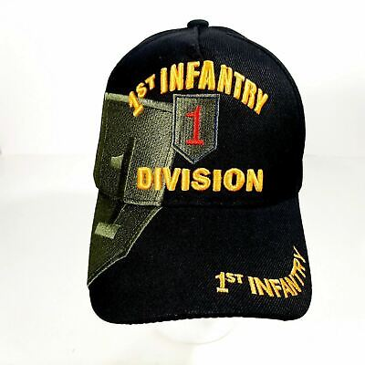 US Army 1st Infantry Division Men/'s Ball Cap Hat Black Acrylic Embroidered