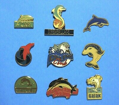 Dolphin - 9 Different Vintage Lapel Pin Lot - Hat Pin - Pinback