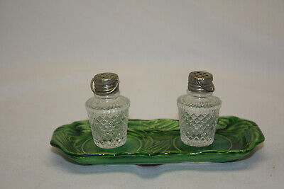 Vintage Rossette Hand Painted Aluminum Top Salt and Pepper Shakers with Tray