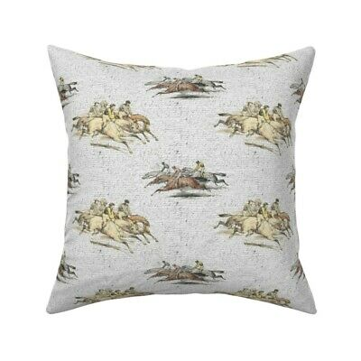 Equestrian Horse Jockeys Throw Pillow Cover w Optional Insert by Roostery