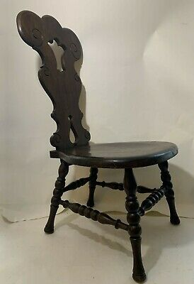 Antique Oak Spinning Wheel Chair Fancy Primative Stool Princess Throne Bench