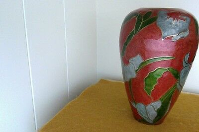 Art Nouveau Brass Vase Burnt Orange