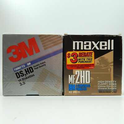 Floppy Disks 2 Packs of 10 Maxell MF2HD and 3M DS,HD 3.5 Diskettes IBM Formatted