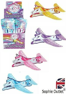 Girls UNICORN FLYING GLIDERS Toy Planes Birthday Xmas Party Bag Fillers R01872