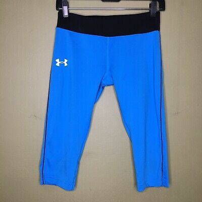 Girls Youth Large Fitted Allseason Gear Under Armour Capri Pants Blue Black Crop