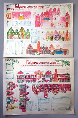 """Folger's Christmas Village Vtg Paper Punch Out 2 Sheets 11"""" x 14"""" Folgers Coffee"""