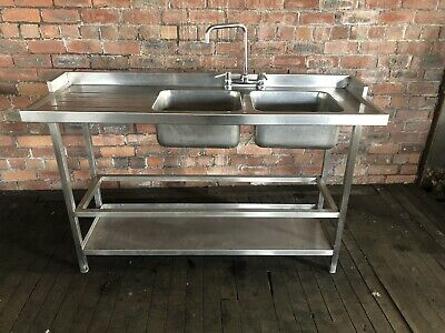Stainless Steel Commercial Double Bowl Sink 154cm Catering/ restaurant