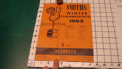vintage single sided paper: SMITHS Winter THERMOSTATS 1963 PAPER folded