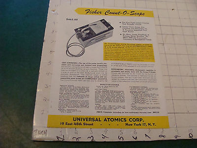 Orig Vintage doube sided paper: FISHER COUNT-O-SCOPE universal atomics 1950's