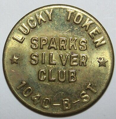 """SPARKS SILVER CLUB NEVADA LUCKY TOKEN """"NOT GOOD FOR CASH OR MERCHANDISE"""" 32mm"""