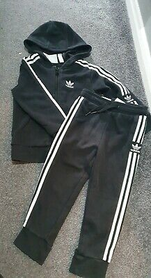Boys 2-3 Years Black Adidas Tracksuit Zip Up Hoodie And Trousers