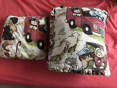2 Old Style Postman Pat Cushions 1981 For Bedroom